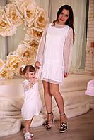 Белое нарядное платье с гипюром для мамы и дочки Family look