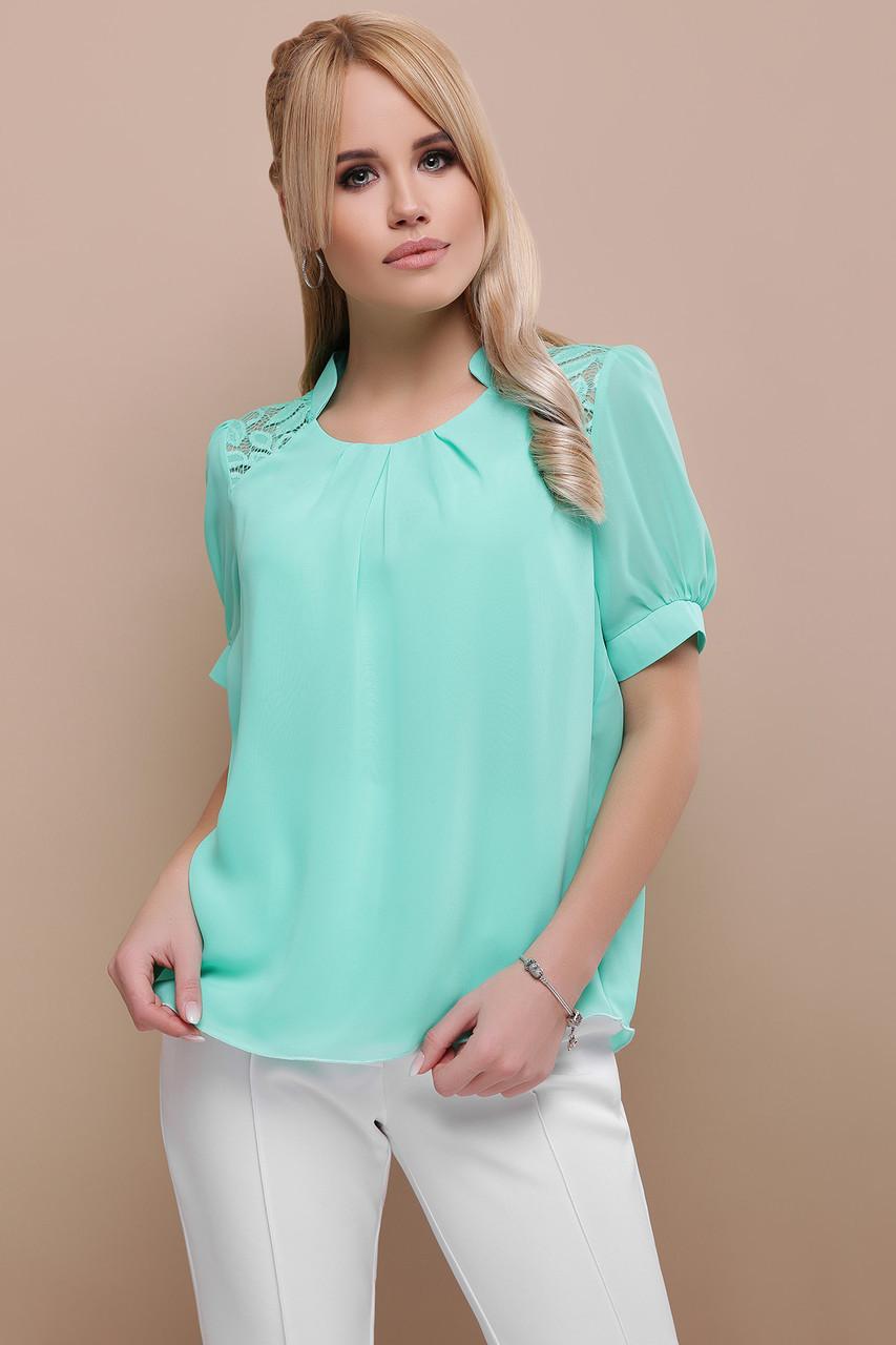 99648614807 Стильная шифоновая блуза Римма К р с гипюровой вставкой три весенних цвета  скл.2