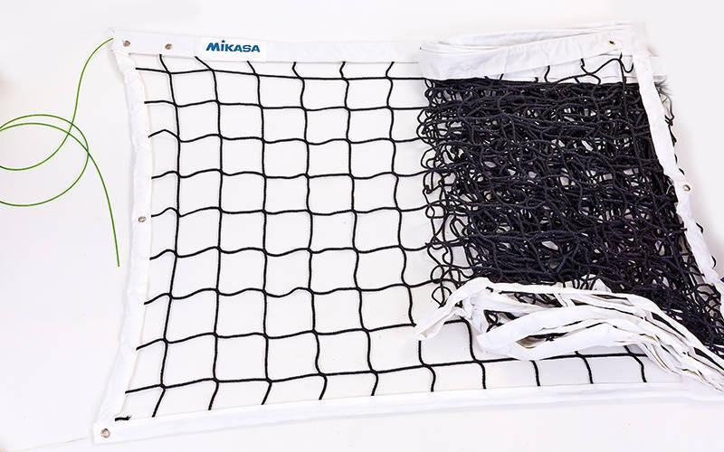 Сетка для волейбола c тросом MIKASA (р 9,5x1м, ячейка 12x12см) C-6399