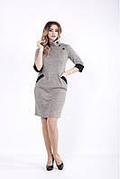 Женское пудровое платье с карманами 01062 / размер 42-74 / большие размеры