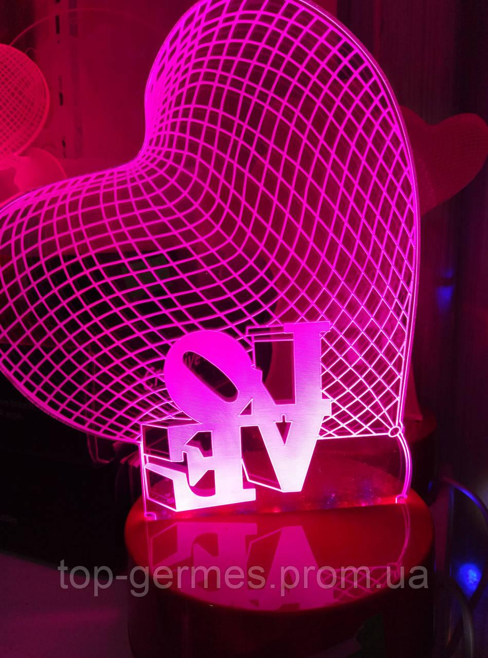 "3D светильник-лампа ""одно сердце"""