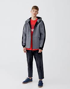 Куртка худи Pull and Bear - Серого цвета из неопрена на флисовой основе (весна\осень)