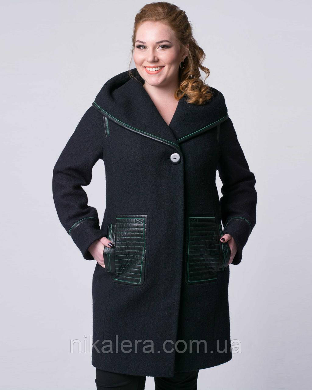 Пальто из вареной шерсти с капюшоном, рр 48-56