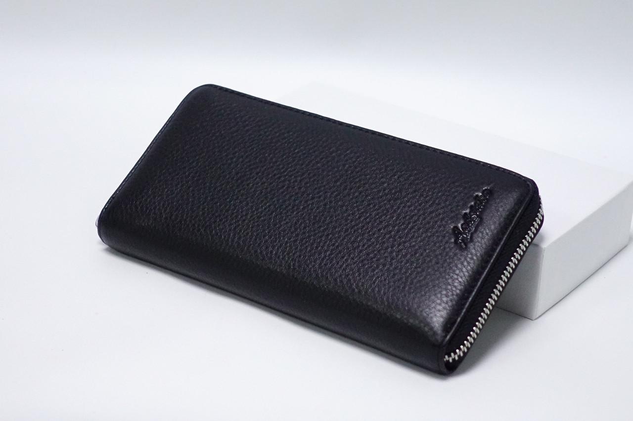Кожаный кошелек на молнии Aodstabo 19013 black