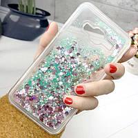 Чехол Glitter для Samsung Galaxy J5 2016 / J510 Бампер Жидкий блеск бирюзовый