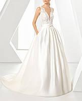 Пышное атласное свадебное платье А-силуэта с кружевом и карманами СВ-6812