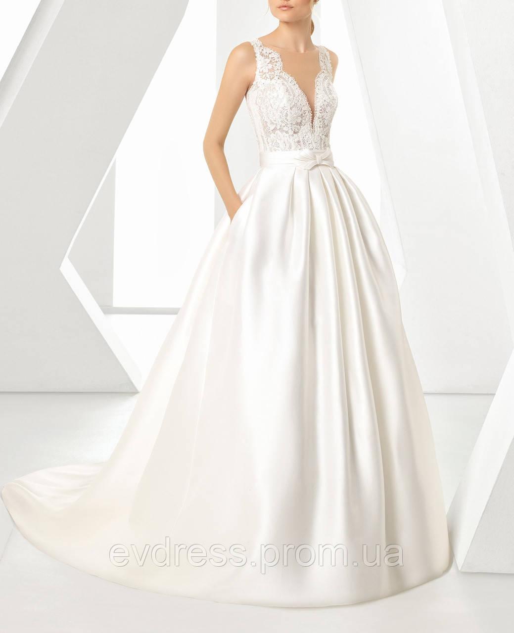 ac35c0f2f50 Пышное атласное свадебное платье А-силуэта с кружевом и карманами СВ-6812 -  Интернет