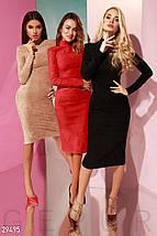 Красивое платье средней длины облегающее замшевое с длинным рукавом ярко красное, фото 3