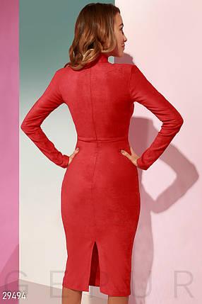 Красивое платье средней длины облегающее замшевое с длинным рукавом ярко красное, фото 2