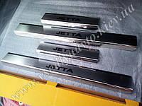 Защита порогов - накладки на пороги Volkswagen Jetta VI/Jetta USA с 2011- (Premium)