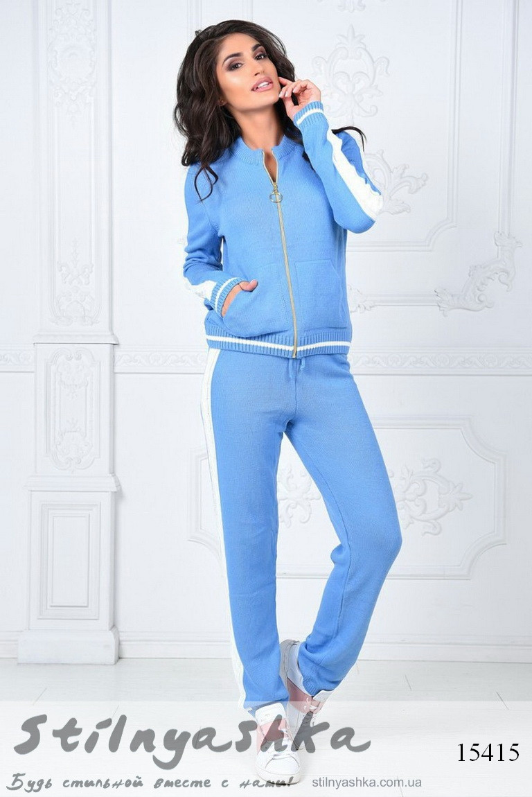 cb5f5d8b7ac Стильный трикотажный женский костюм на змейке голубой - купить оптом ...