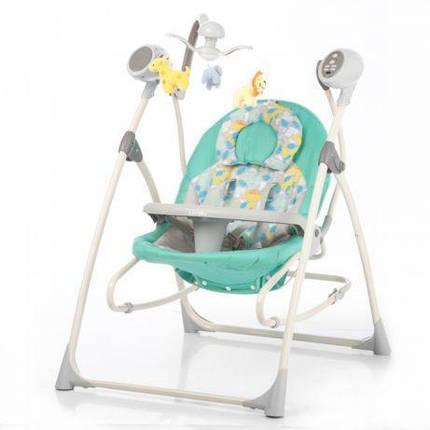 Детская электрическая качель-колыбель, шезлонг CARRELLO Nanny 3 в 1 CRL-0005 с пультом, Grey Dino, фото 2