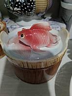 """Керамическая икорница""""золотая рыбка"""""""
