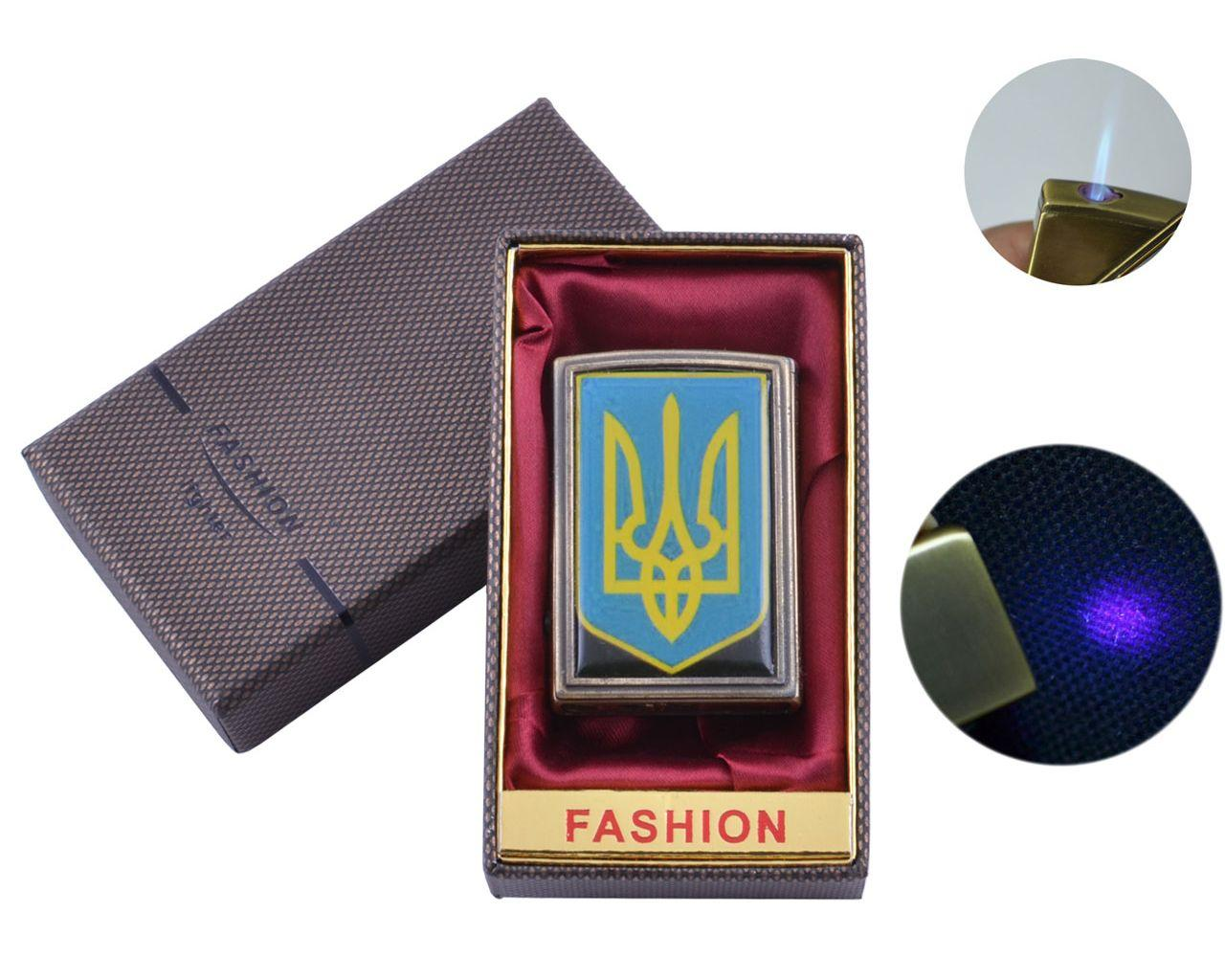 Зажигалка подарочная в коробочке UA-17 Украина с фонариком для денег