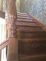 Лестница из бука с элементами резьбы