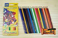 """Цветные карандаши Пегашка 24 цвета №1010-24CB """"MARCO"""" шестигранные (уп6\120)"""