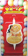 """Свечи для торта """"Принцессы Дисней""""-«2»"""