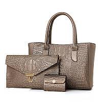 Набор женских сумок 3в1 из экокожи золотистого цвета, фото 1