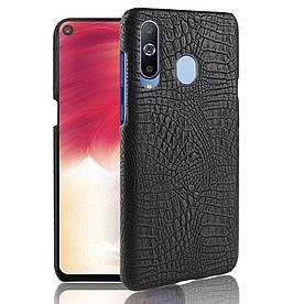 Чехол накладка для Samsung Galaxy A8s G8870 пластик и искусственная кожа, Крокодиловая кожа, черный