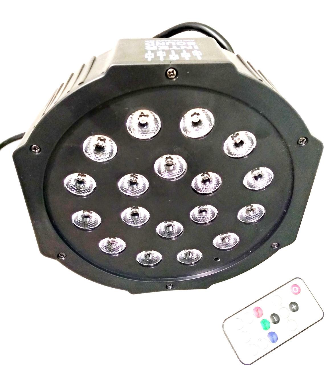 Заливочный свет ПАР 18x1WRGB 3in1 DMX + пульт ДУ. Цветомузыка Dzyga