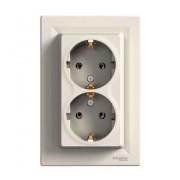 Розетка 2-а з з/к Asfora крем EPH9900123 Schneider Electric