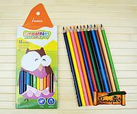 Цветные карандаши трёхгранные MARCO 12 цветов грифель 3.3 мм Smoothies