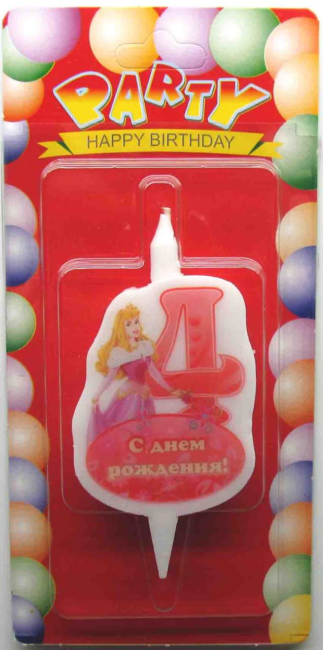 """Свечи для торта """"Принцессы Дисней""""-«4»"""