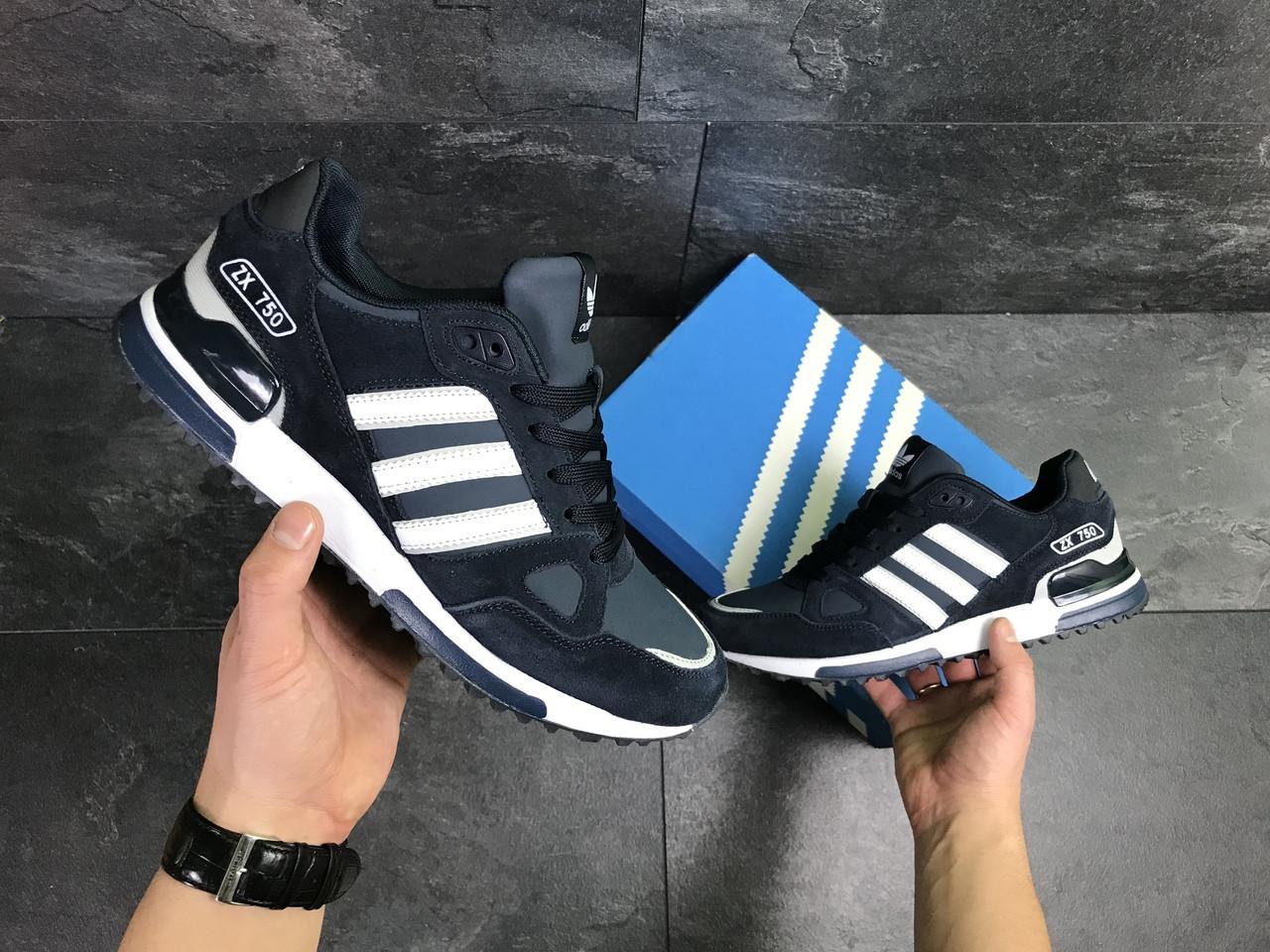 d25061fd Мужские Кроссовки Adidas ZX750 (Темно-синие с Белым) — в Категории ...
