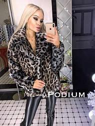 Женская стильная шуба укороченная леопардовой расцветки (2 цвета)