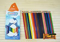Цветные карандаши трёхгранные  MARCO 24 цвета грифель 3.3 мм Smoothies