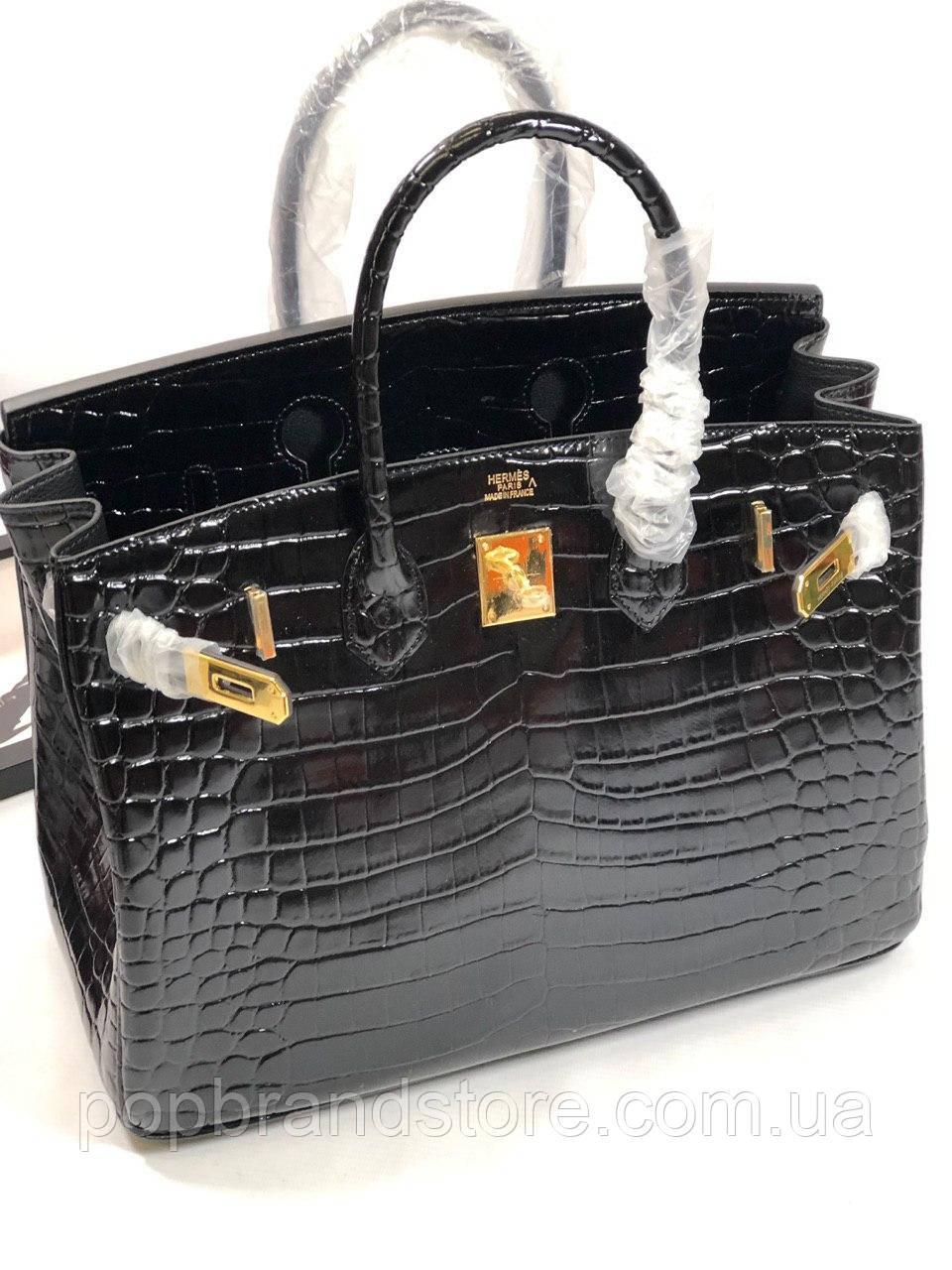 76907ed60e7e Женская сумка Гермес Биркин 35 см натуральная кожа под кроко (реплика) -  Pop Brand