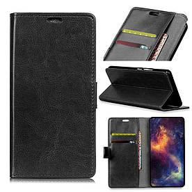 Чехол книжка для LG G7 One боковой с отсеком для визиток, Гладкая кожа, черный