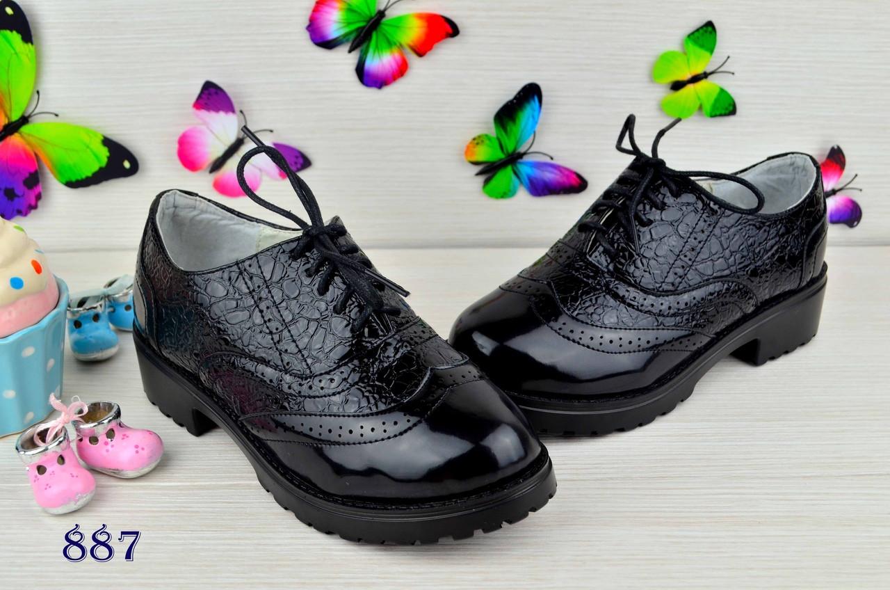 Туфли  детские  на девочку из эко кожи под лак черные 34р.