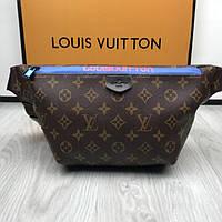 Стильная женская сумка-бананка Louis Vuitton коричневая поясная сумка  экокожа унисекс Луи Виттон люкс реплика 25d2d436a09be