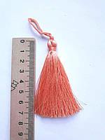 Китиця декоративна текстильна мала шовкова,  7 см, яскраво абрикосовий, 1 шт.
