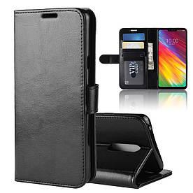 Чехол книжка для LG G7 Fit боковой с отсеком для визиток, Гладкая кожа, черный