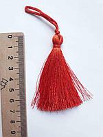 Китиця декоративна текстильна мала шовкова,  7 см, темно оранжевий 1 шт.