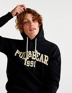 Мужская кенгуру Pull and bear - Classic black черная с буквами логотипом (толстовка, чоловіча кофта)