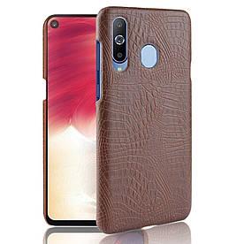 Чехол накладка для Samsung Galaxy A8s G8870 пластик и искусственная кожа, Крокодиловая кожа, коричневый