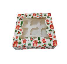 Коробка для пирожного 260х260х90 мм. (окошко) на 9шт. с принтом подарок