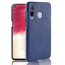 Чехол накладка для Samsung Galaxy A8s G8870 пластик и искусственная кожа, Крокодиловая кожа, темно-синий