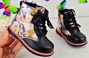 Ботинки детские демисезонные  на девочку из  эко-кожи черные цветы, фото 2