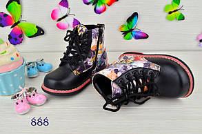 Ботинки детские демисезонные  на девочку из  эко-кожи черные цветы, фото 3