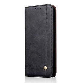Чехол книжка для Samsung Galaxy A8s G8870 боковой с отсеком для визиток, Crazy Horse, черный