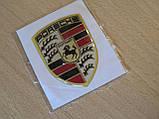 Наклейка s вставка в эмблему Porsche Stuttgart 42х56х1,3мм силиконовая эмблема на авто Порш Порше без хрома, фото 2
