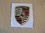 Наклейка s вставка в эмблему Porsche Stuttgart 42х56х1,3мм силиконовая эмблема на авто Порш Порше без хрома, фото 4