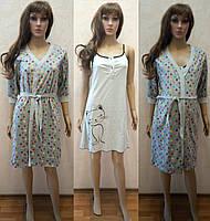 Комплект для беременных и кормящих женщин халат и сорочка светло-серого  цвета 44-54 3ead6907e4ae9