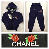 Детский спортивный костюм для девочки Chanel, Шанель (реплика). Темно-синий. Турция 3-4года