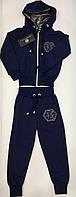 Детский спортивный костюм для девочки Philipp Plein, Филипп Плеин (реплика). Темно-синий. Турция 3-4года
