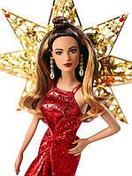 Коллекционная кукла Барби Шатенка в красном платье, Barbie DYX41 Holiday Doll (Ltna)